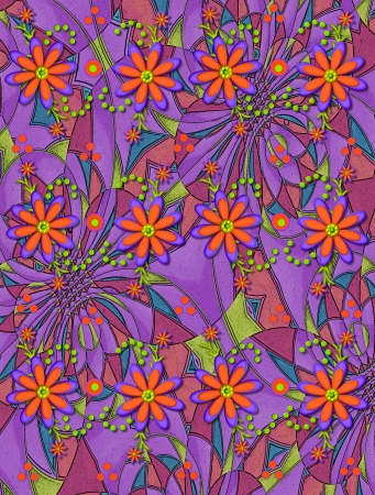 3D daisies in orange and purple top a pyschedelic background of pink, mauve, green and blue. photo