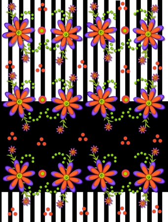 Black an white stripe background is topped with 3D daisies in orange and purple. photo