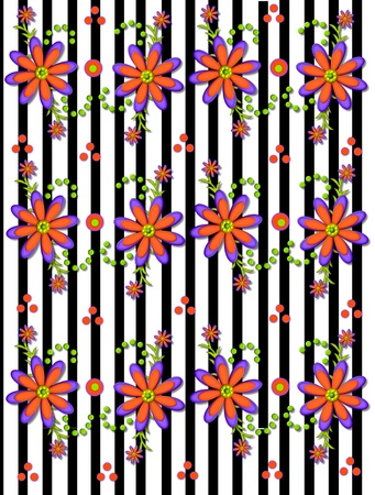 topped: Black an white stripe background is topped with 3D daisies in orange and purple. Stock Photo