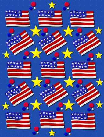 Bright blue background is covered in tiny white specks.  3D American flags decorate background including stars and red, white and blue dots. photo
