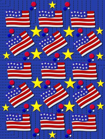 Bright blue background is covered in rows of black stitching.  3D American flags decorate background including stars and red, white and blue dots. photo