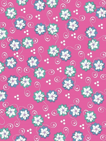 Deep pink background is decorated with white curls, polka dots and a cluster of pale petals forming a fluffy flower.  Flowers are in soft green and blue. Stock Photo