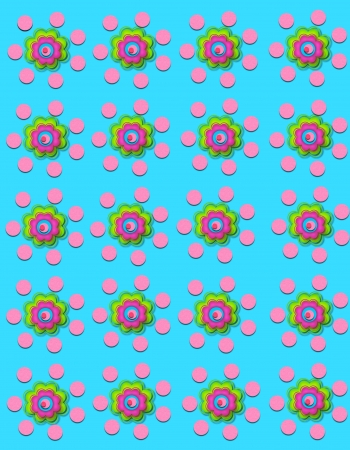 aqua flowers: Aqua background is decorated with polka dots and flowers.  Flowers have four layers.