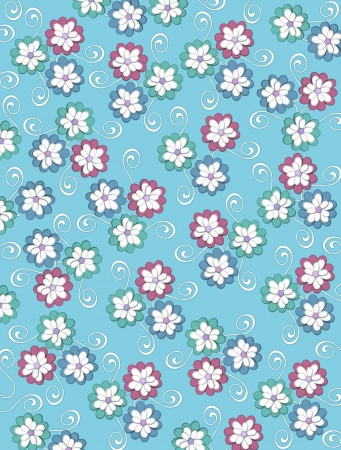 Aqua background is decorated with white curls, polka dots and a cluster of pale petals forming a fluffy flower.  Flowers are in soft green and blue. Stock Photo