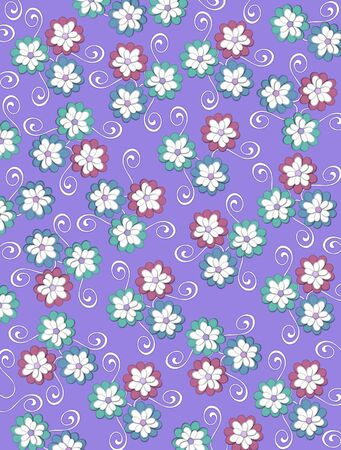 Lilac background is decorated with white curls, polka dots and a cluster of pale petals forming a fluffy flower.  Flowers are in soft green and blue. Zdjęcie Seryjne