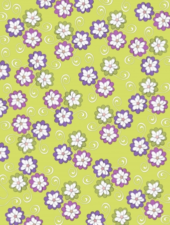 Olive green background is decorated with white curls, polka dots and a cluster of pale petals forming a fluffy flower.  Flowers are in soft green and blue.