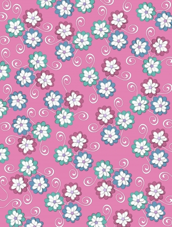 Pale pink background is decorated with white curls, polka dots and a cluster of pale petals forming a fluffy flower.  Flowers are in soft green and blue.