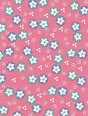 peachy: Peachy background is decorated with white curls, polka dots and a cluster of pale petals forming a fluffy flower.  Flowers are in soft green and blue. Stock Photo