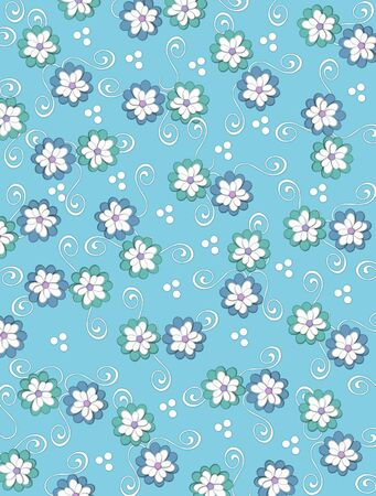 Powder blue background is decorated with white curls, polka dots and a cluster of pale petals forming a fluffy flower.  Flowers are in soft green and blue.
