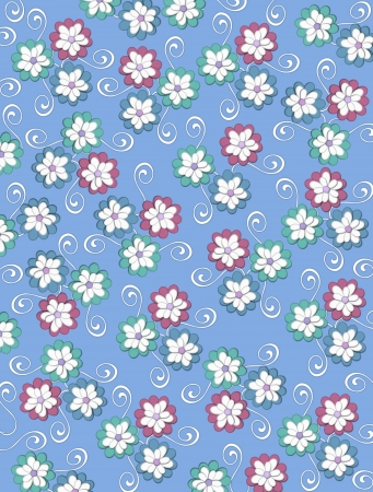 Soft blue background is decorated with white curls, polka dots and a cluster of pale petals forming a fluffy flower.  Flowers are in soft green and blue. Zdjęcie Seryjne - 17126650