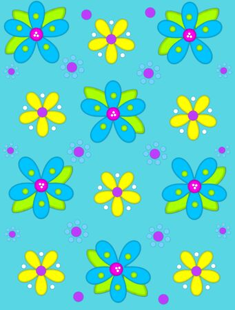 Aqua background is decorated with big 2D flowers topping bright green leaves.  Pink button center and green polka dots complete flower.  Small dotted flowers sit between blooms.