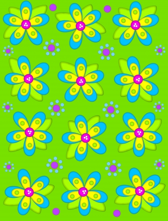 Brilliant green background is decorated with big 2D flowers topping bright green leaves.  Pink button center and green polka dots complete flower.  Small dotted flowers sit between blooms. photo