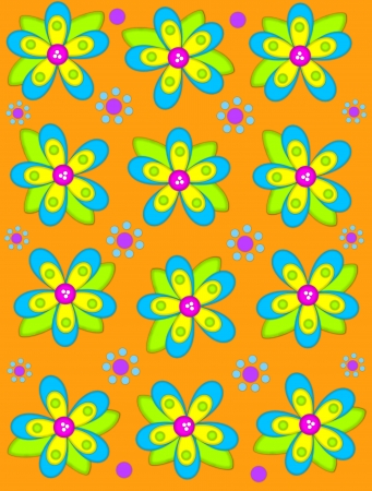 Brilliant orange background is decorated with big 2D flowers topping bright green leaves.  Pink button center and green polka dots complete flower.  Small dotted flowers sit between blooms. Stock Photo