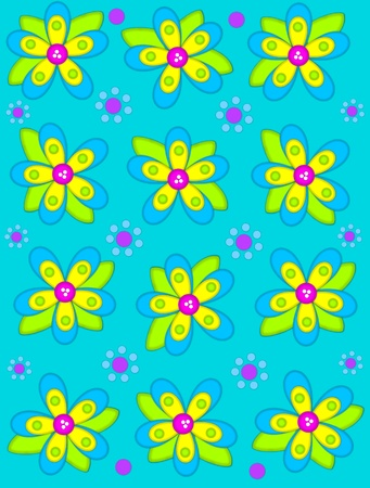 aqua flowers: Deep aqua background is decorated with big 2D flowers topping bright green leaves.  Pink button center and green polka dots complete flower.  Small dotted flowers sit between blooms. Stock Photo