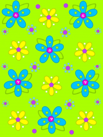 Lime green background is decorated with big 2D flowers topping bright green leaves.  Pink button center and green polka dots complete flower.  Small dotted flowers sit between blooms. photo