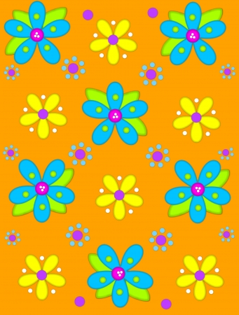 Bright orange background is decorated with big 2D flowers topping bright green leaves.  Pink button center and green polka dots complete flower.  Small dotted flowers sit between blooms. Stock Photo - 17126490