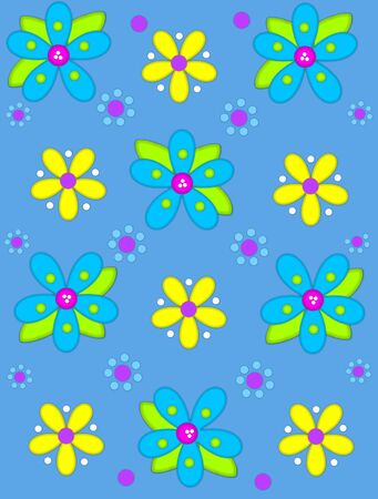 Pale blue background is decorated with big 2D flowers topping bright green leaves.  Pink button center and green polka dots complete flower.  Small dotted flowers sit between blooms.