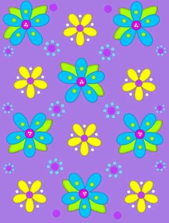 Pale purple background is decorated with big 2D flowers topping bright green leaves.  Pink button center and green polka dots complete flower.  Small dotted flowers sit between blooms.