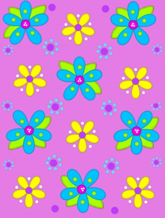 Soft pink background is decorated with big 2D flowers topping bright green leaves.  Pink button center and green polka dots complete flower.  Small dotted flowers sit between blooms.