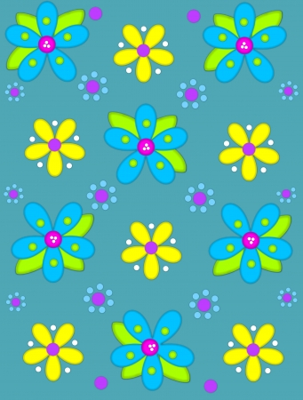 Teal blue background is decorated with big 2d flowers topping stock photo teal blue background is decorated with big 2d flowers topping bright green leaves pink button center and green polka dots complete flower mightylinksfo