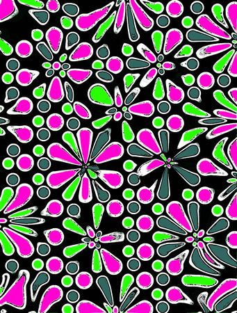 Black background is covered in glowing night floers outlined in white and antiqued.  Circles and dots, also outlined in white, fill space between flowers. Stock Photo