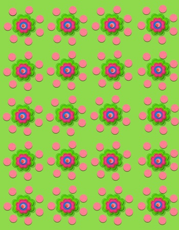Pale green background is decorated with polka dots and flowers.  Flowers have four layers. Stock Photo