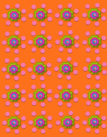 Orange background is decorated with polka dots and flowers.  Flowers have four layers.