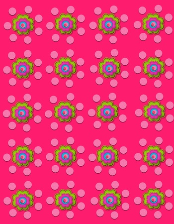 Pretty pink background is decorated with polka dots and flowers.  Flowers have four layers. photo