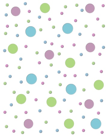 White background is covered in fun colored circles.  2D dots are small and large.