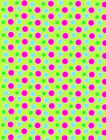 Background image is filled with two layered circles and dots.  White border encircles each polka dot.  Polka dots fill lime green background. Standard-Bild