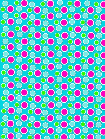 Background image is filled with two layered circles and dots.  White border encircles each polka dot.  Polka dots fill aqua background. Stock Photo - 17120676