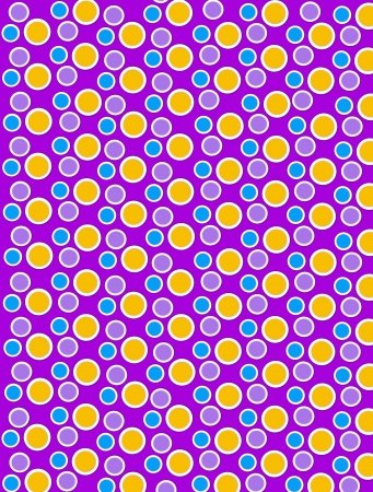 Background image is filled with two layered circles and dots.  White border encircles each polka dot.  Polka dots fill purple background. Stock Photo - 17126677