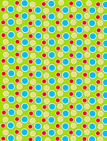 Background image is filled with two layered circles and dots.  White border encircles each polka dot.  Polka dots fill lime green background. photo