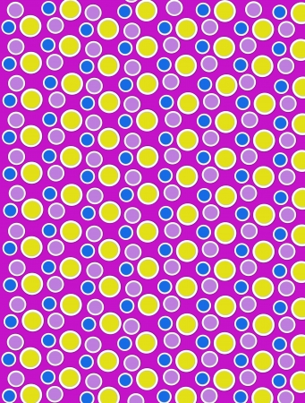 Background image is filled with two layered circles and dots.  White border encircles each polka dot.  Polka dots fill purple background. Stock Photo - 17120699