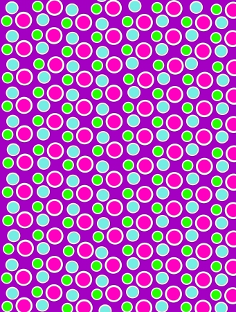 Background image is filled with two layered circles and dots.  White border encircles each polka dot.  Polka dots fill purple background. photo