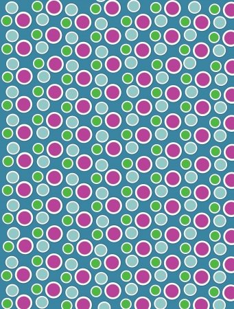 Background image is filled with two layered circles and dots.  White border encircles each polka dot.  Polka dots fill turquoise background. photo