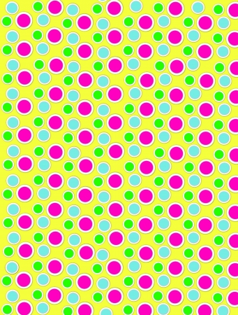 Background image is filled with two layered circles and dots.  White border encircles each polka dot.  Polka dots fill yellow background. photo