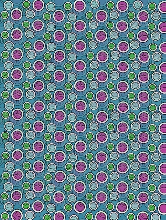 Background image is filled with two layered circles and dots.  White border encircles each polka dot.  Polka dots fill blue background. Stock Photo - 17126879