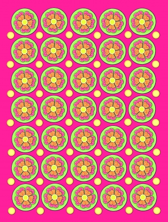 Background is hot pink and decorated with circles containing flowers in pink and orange.  Flowers are polka dotted.  Small dots in yellow decorate space between flowers.