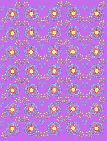 Background image titled country petals is lilac and decorated with polka dotted flowers in pink and blue.  Green swirls and yellow polka dots decorate flowers. photo