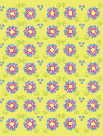 Background image titled country petals is yellow and decorated with polka dotted flowers in pink and blue.  Green swirls and polka dots decorate flowers. photo