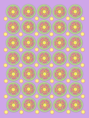 Background of soft lilac is decorated with green circles containing polka dotted flowers in pink and peach.  Small yellow circles form rows between flowers. photo