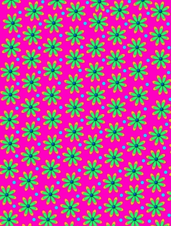 Hot pink background is covered in daisy shaped flowers with blue centers.  Bright blue polka dots decorate between flowers.