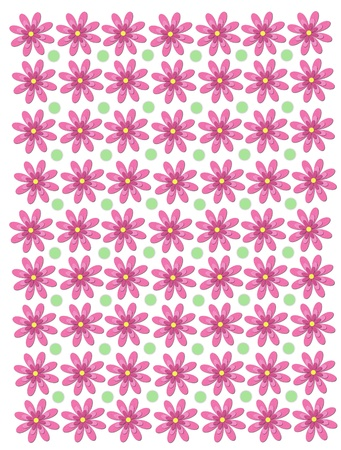 Rows of daisies with four layers of petals decorate white background.  Soft green polka dots decorate alternating rows .
