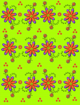 Shasta Daisies in orange and purple decorate lime green background.  Orange and green polka dots are sprinkled around and between flowers. photo