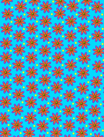 Bright blue background is covered in daisy shaped orange flowers.  Yellow polka dots decorate space between flowers. Stock Photo - 17126729