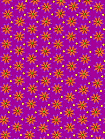 Grape colored background is covered in daisy shaped orange flowers.  Yellow dots decorate space between flowers. photo