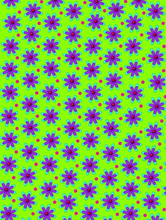 centers: Lime green background is covered in daisy shaped flowers with red centers.  Pink polka dots decorate space between flowers.