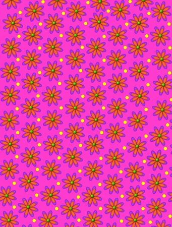 Bright pink background is decorated with daisy shaped flowers with green centers.  Yellow polka dots sit between flowers.