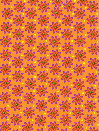 centers: Orange background is covered in daisy shaped flowrs with green centers.  Yellow polka dots decorate space between flowers. Stock Photo